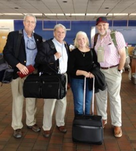 From left, the Rev. Bob Lawrence, the Rt. Rev. Mark Lawrence, Mrs. Allison Lawrence and the Rev. Greg Snyder - GAFCON bound